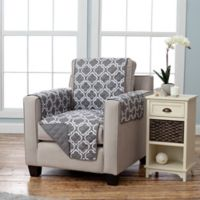 Adalyn Collection Reversible Chair-Size Furniture Protectors in Lattice Print/Charcoal