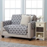 Adalyn Collection Reversible Loveseat-Size Furniture Protectors in Lattice Print/Charcoal