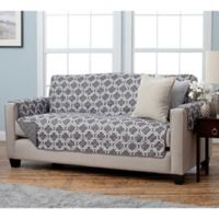 Adalyn Collection Reversible Sofa-Size Furniture Protectors in Lattice Print/Charcoal