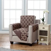 Adalyn Collection Reversible Chair-Size Furniture Protectors in Lattice Print/Chocolate