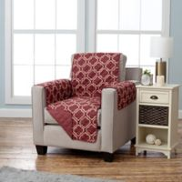 Adalyn Collection Reversible Chair-Size Furniture Protectors in Lattice Print/Burgundy