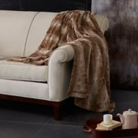 Madison Park Zuri Oversized Reversible Faux-Fur Throw in Tan