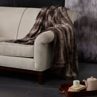 Madison Park Zuri Oversized Reversible Faux-Fur Throw in Chocolate