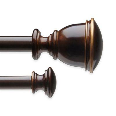 umbra bedford 28 to 48inch adjustable window curtain double rod set in darjeeling