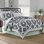 Cooper 8-Piece Reversible Queen Comforter Set in Black/White/Mint