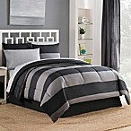 Bryce 6-Piece Reversible Twin Comforter Set in Black/Grey