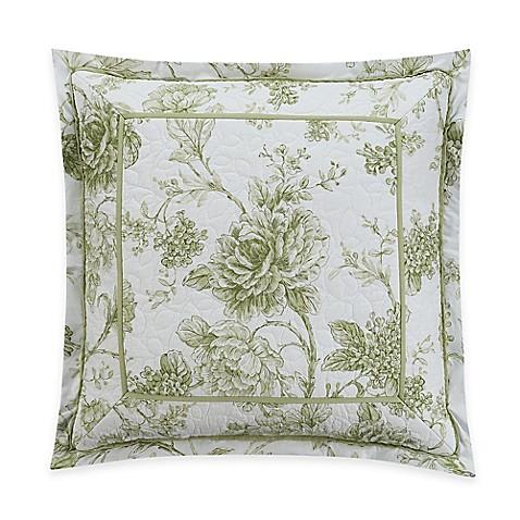 White Square Throw Pillows : Williamsburg Burwell Framed Square Throw Pillow in Green/White - Bed Bath & Beyond