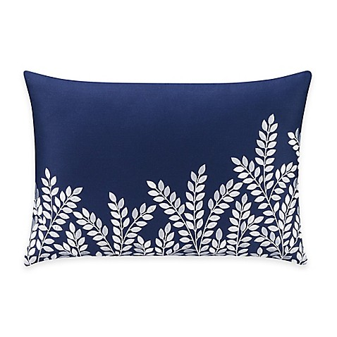 Bridge Street Willow Embroidered Oblong Throw Pillow in Blue - Bed Bath & Beyond
