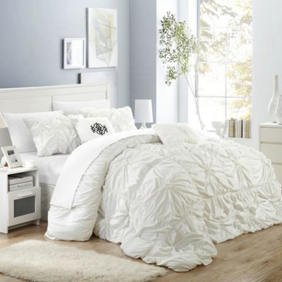 chic home hilton 6piece queen comforter set in white