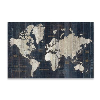 Buy world map wall decor from bed bath beyond old world map wall art in blue gumiabroncs Images