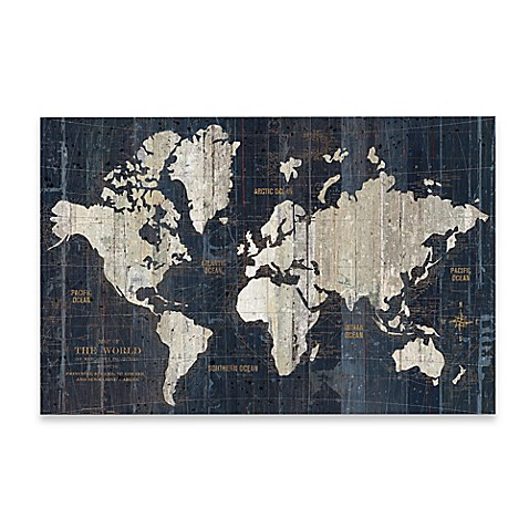 Image Of Old World Map Wall Art In Blue