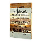 """In Our Home"" Inspirational Reclaimed Wood Wall Art"