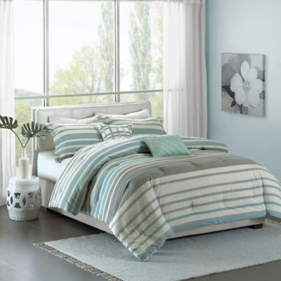 Madison Park Pure Neruda King California Duvet Cover Set In Aqua