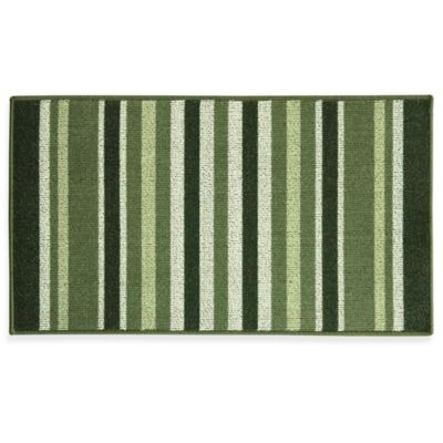 Bacova Striped Ivy 22.4 Inch X 40 Inch Berber Kitchen Rug In Green