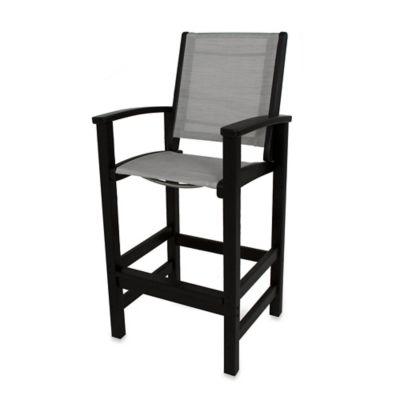 POLYWOOD® Coastal Bar Chair In Black/Grey