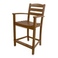 POLYWOOD® La Casa Café Counter Arm Chair in Teak