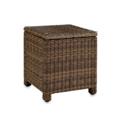 Crosley Bradenton Wicker Rectangular Side Table In Brown