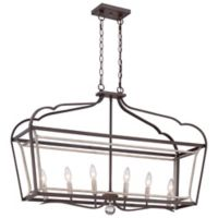 Minka Lavery® Astrapia 6-Light Island Fixture in Dark-Rubbed Sienna/Aged Silver