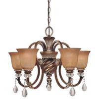 Minka Lavery® Aston Court™ 19-Inch 5-Light Chandelier in Bronze with Glass Shades