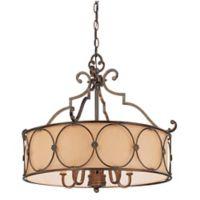 Minka Lavery® Atterbury 5-Light Round Chandelier in Bronze with Linen Shade