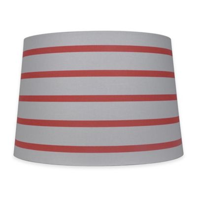 Buy lamp shades from bed bath beyond mix match 15 inch striped hardback drum lamp shade in coralwhite mozeypictures Gallery