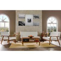 Baxton Studio Mid-Century Masterpieces 3-Piece Sofa Set in White