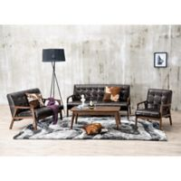 Baxton Studio Mid-Century Masterpieces 3-Piece Sofa Set in Brown