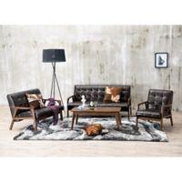 Baxton Studio Mid-Century Masterpieces 3-Piece Sofa Set in Brown