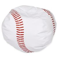 Round Baseball Bean Bag Chair in Matte White/Red