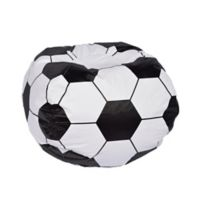 Round Soccer Ball Bean Bag in Matte White/Black