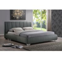 Baxton Studio Marzenia Linen Upholstered Queen Platform Bed in Grey