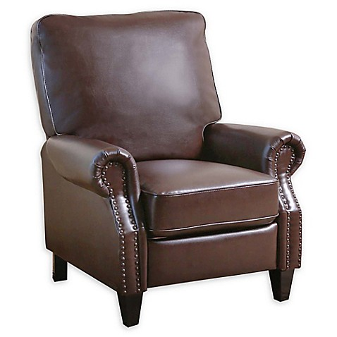 Abbyson living cliff leather pushback recliner bed bath for Abbyson living sedona leather chaise recliner