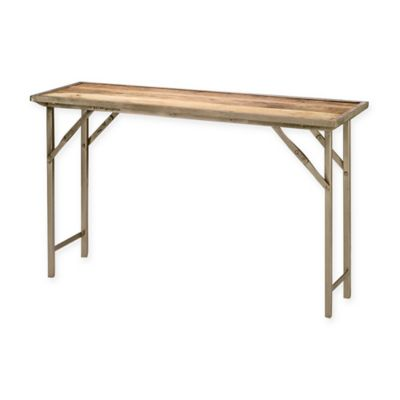 Jamie Young Natural Wood Folding Campaign Console Table