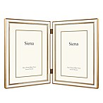 Siena Metallics 2-Photo 5-Inch x 7-Inch Narrow Enamel Frame in White/Gold