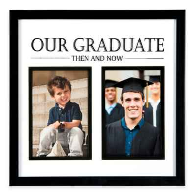 "PhotoGuard 2-Photo ""Then and Now"" Graduation Frame in Black"