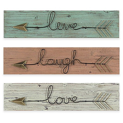"""Live/Laugh/Love"" Metal Arrow Wall Art Collection - Bed ..."