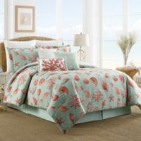 Coastal Life Luxe Coral Reversible Full Comforter Set in Teal