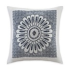 INK+IVY Luna Embroidered Square Throw Pillow in Indigo/White