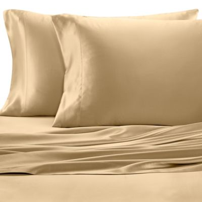 Great Valeron Estate Silk Queen Sheet Set In Honey
