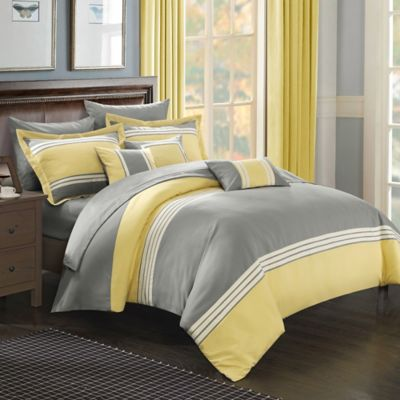 chic home karsa 10piece queen comforter set in yellow