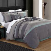 Chic Home Elijah 8-Piece Queen Comforter Set in Aqua