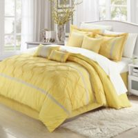 Chic Home Valde Rose 8-Piece King Comforter Set in Yellow/Grey