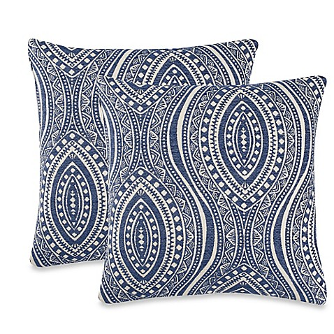 Throw Pillows Malum : Moroccan Tile Throw Pillow in Indigo (Set of 2) - Bed Bath & Beyond