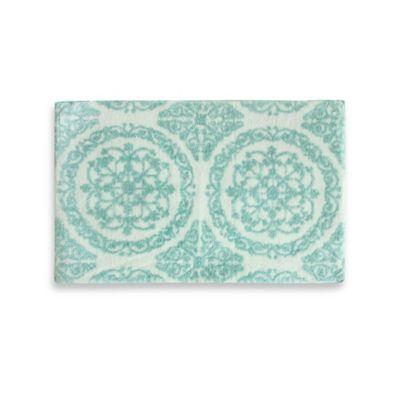 Jessica Simpson 21 Inch X 34 Inch Ornamental Bath Rug In Turquoise