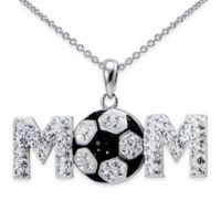 "Sterling Silver Black and White Crystal 18-Inch Chain Soccer ""Mom"" Pendant Necklace"