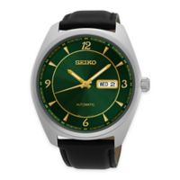 Seiko Recraft Men's Automatic Watch in Stainless Steel with Green Dial and Black Leather Strap