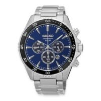 Seiko Chronograph Solar Men's 43.5mm Blue Dial Watch in Stainless Steel