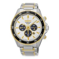 Seiko Chronograph Solar Men's 43.5mm Black and White Dial Watch in Two-Tone Stainless Steel