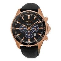 Seiko Men's Solar Chronograph Watch in Rose Goldtone Stainless Steel with Black Leather Strap
