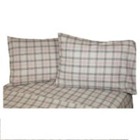 Belle Epoque La Rochelle Collection Check Heathered Flannel California King Sheet Set in Grey/Red